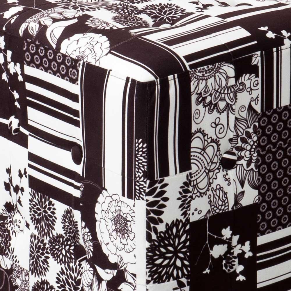 100/% Polyester strapazierf/ähig SalesFever/® Hocker in schwarz-wei/ß 64x 48 x 48 cm, Patchwork Polsterhocker im Kolonialstil bequemer Komfort