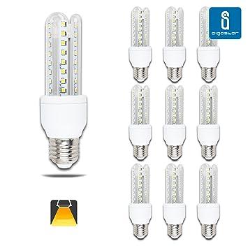 Aigostar - Pack de 10 Bombillas LED B5 T3 3U, 9W, casquillo gordo E27, luz calida 3000K [Clase de eficiencia energética A+]: Amazon.es: Bricolaje y ...