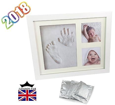 2018 exclusivo calidad bebé mano Kit Huella y marco de fotos. Perfecto para habitación pared