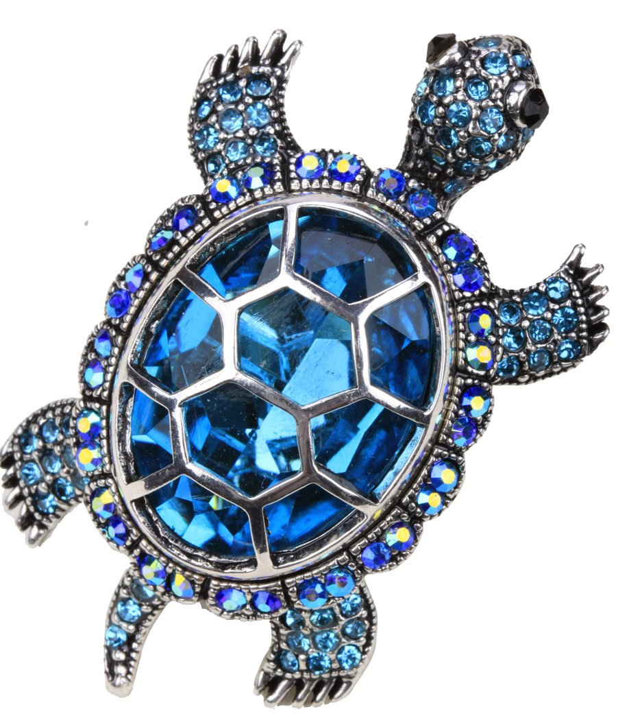 YACQ Jewelry Women's Crystal Big Turtle Pin Brooch Pendant