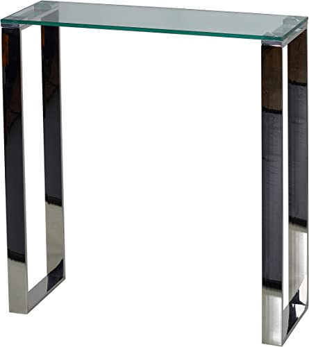 Cortesi Home Forli Small Entry Way Console Table Contemporary Glass and Stainless Steel Finish 28 in Wide Accent