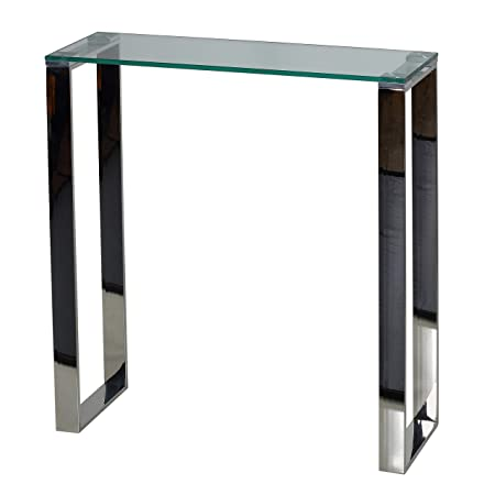 Cortesi Home CH-AT656924 Forli Small Entry Way Console Table Contemporary Glass and Stainless Steel Finish 28 in Wide Accent
