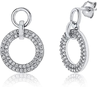 Montage Jewelry Women's Sterling Silver & Cubic Zirconia Elegant Circle Design Earrings