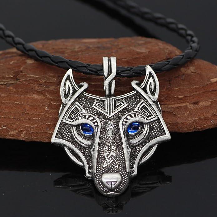 Einzigartige Antik Silber Viking Wolf Anhänger Kopf Halskette mit atemberaubenden  Saphir Blau Augen - Echtes Leder  Amazon.de  Schmuck 3f356db8e7