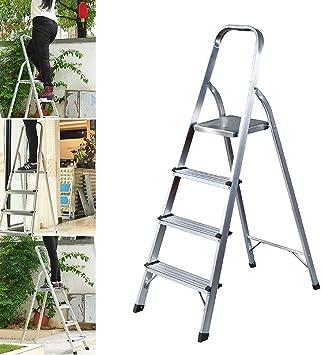 Escalera plegable de 4 peldaños de aluminio, 330 libras de carga máxima, antideslizante, para decoración del hogar, cocina, oficina, hogar: Amazon.es: Bricolaje y herramientas