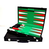 "BACKGAMMON SET-LARGE- LEATHER -""PREMIER""QUALITY 18"" BLACK TRAVEL BRIEFCASE STYLE"
