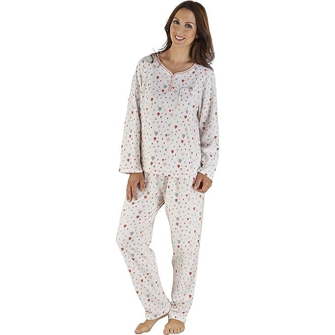 Slenderella – Pijama de impresión de globo para mujer suave Micro polar ropa pjs Set (