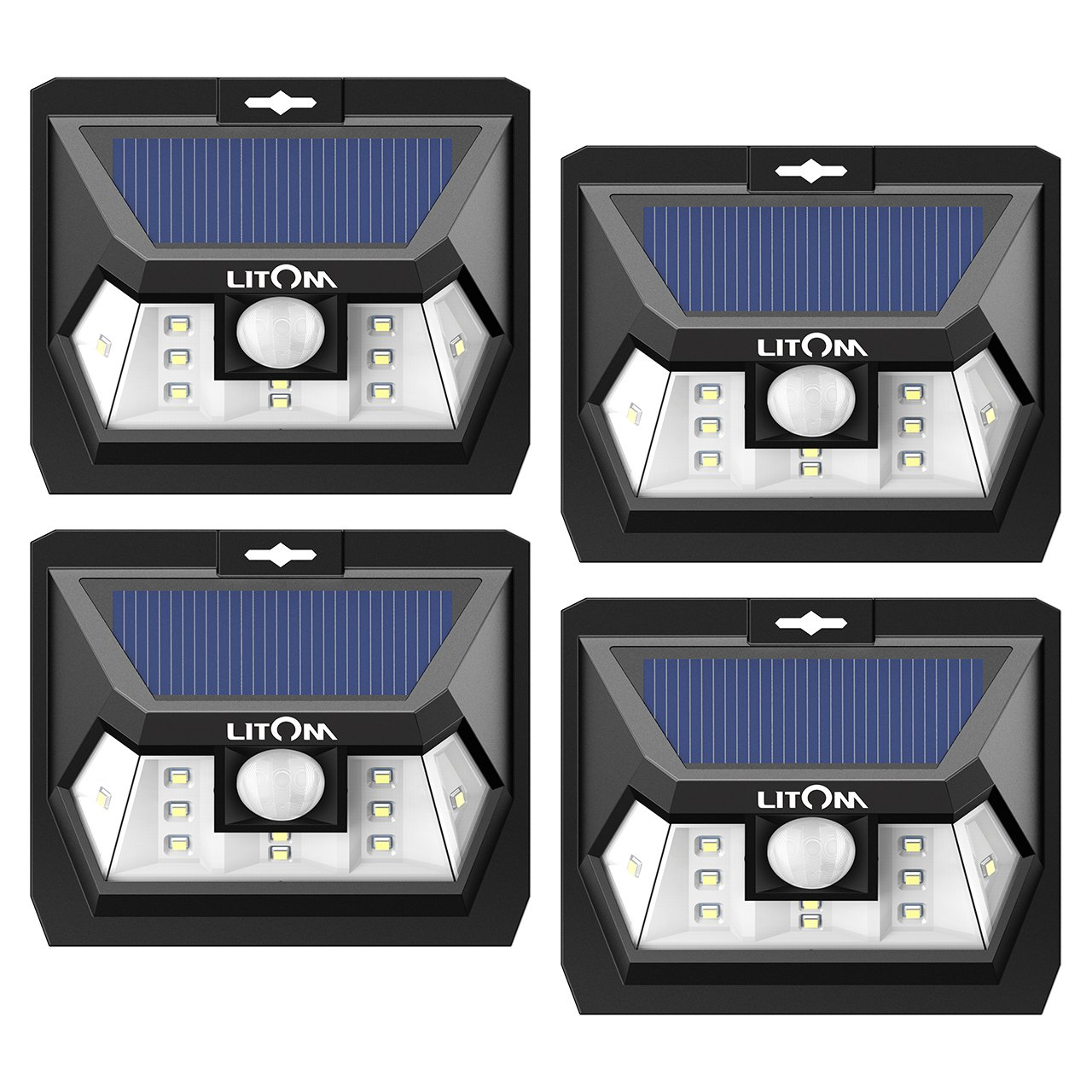 LITOM Solar Lights Outdoor, Wireless LED Solar Motion Sensor Lights with Wide Angle, IP65 Waterproof Security Lights for Front Door Yard Garage Deck Porch Shed Walkway Fence (4 Pack) by Litom (Image #1)