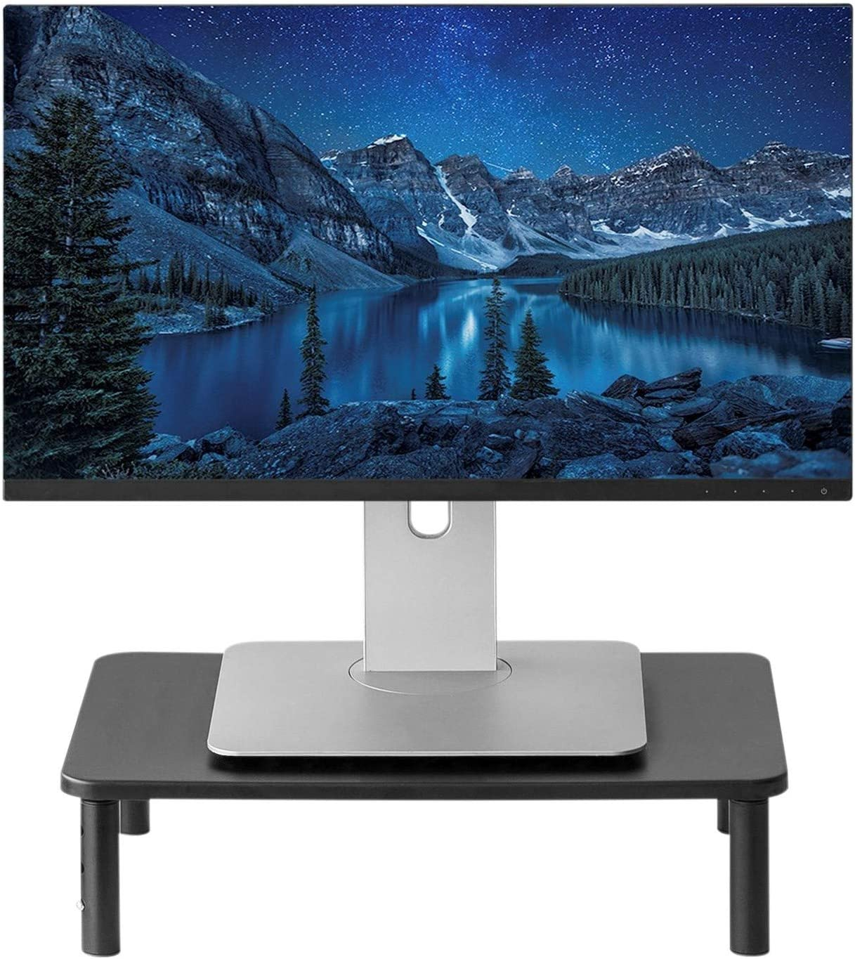 Monitor Stand for Computer, Laptop, Desktop, iMac or Printer - Metal Monitor Riser 14.5 x 9.5 Inch Platform and Adjustable 4 to 5.5 Inch Riser Height - Monitor Stand Organizer for Home or Office Use.