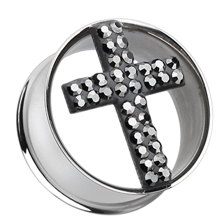 Black Glistening Cross Sparkling Tunnel Ear Plug Sold as a Pair