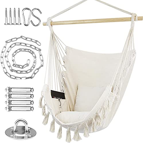 WBHome Hammock Chair Swing with Hanging Hardware Kit- Beige, Cotton Canvas, Include Carry Bag Two Seat Cushions, for Bedroom Indoor Outdoor, Max. Weight 330 Lbs