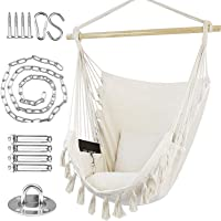 WBHome Hammock Chair Swing with Hanging Hardware Kit- Beige, Cotton Canvas, Include Carry Bag & Two Seat Cushions, for Bedroom Indoor Outdoor, Max. Weight 330 Lbs