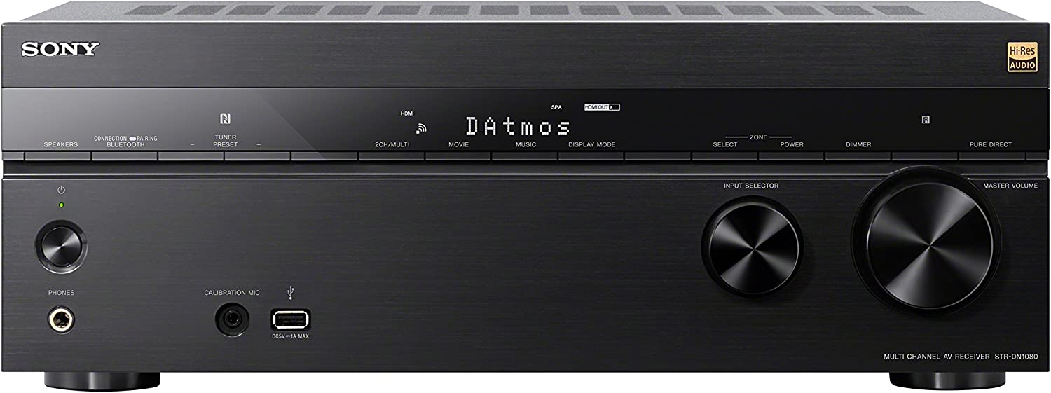 Sony STR-DN1080 7.2-ch Surround Sound Home Theater AV Receiver: 4K HDR, Dolby Atmos, Bluetooth/WiFi, Google Chromecast & SSCSE Dolby Atmos Enabled Speakers, Black, Dolby Atmos Enabled Speakers (Pair)