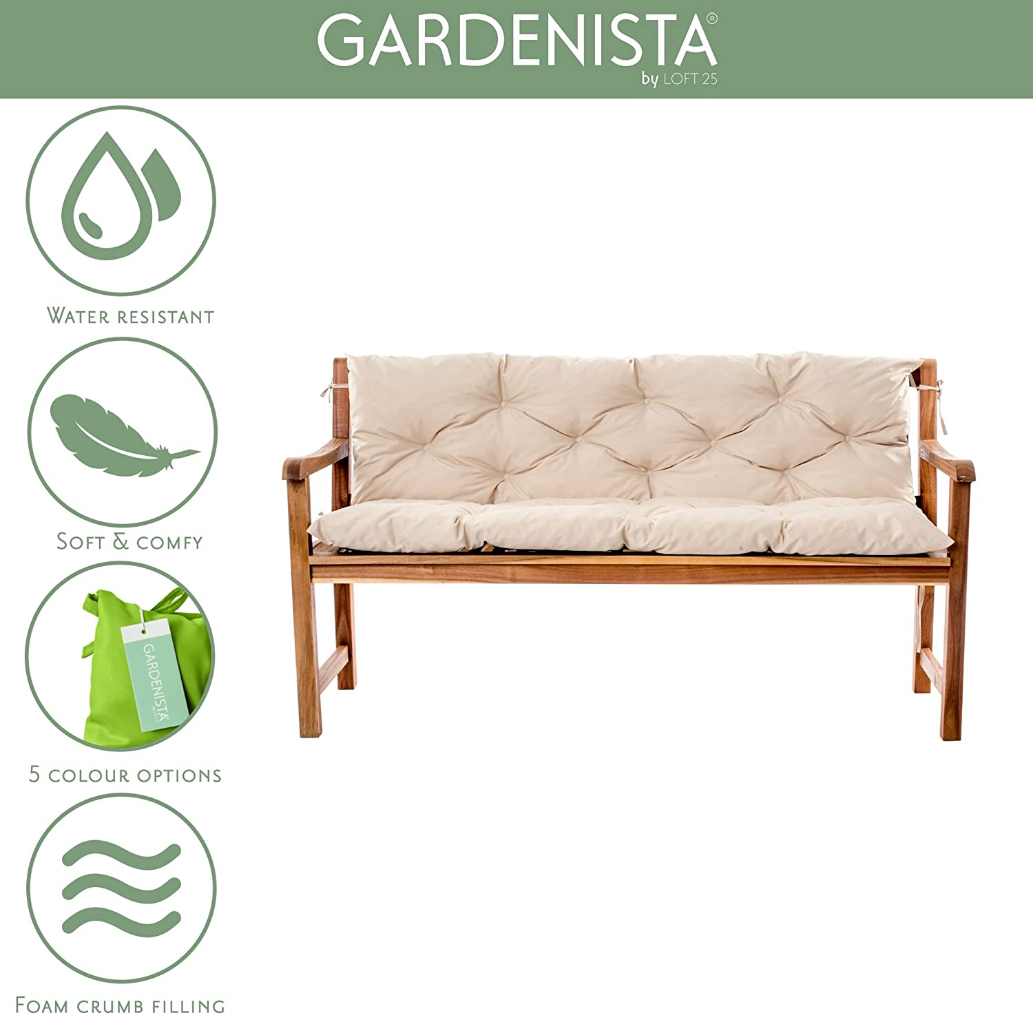 PURPLE Gardenista Water Resistant Outdoor Garden 2 Seater Bench Backrest Cushion Made in the UK L110cm x D45cm x T7cm Tufted Cushions Collection