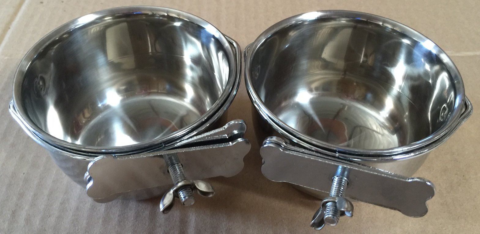 2 of Versatile Stainless Steel Coop Cups For Pet and Animal Cages (4'')