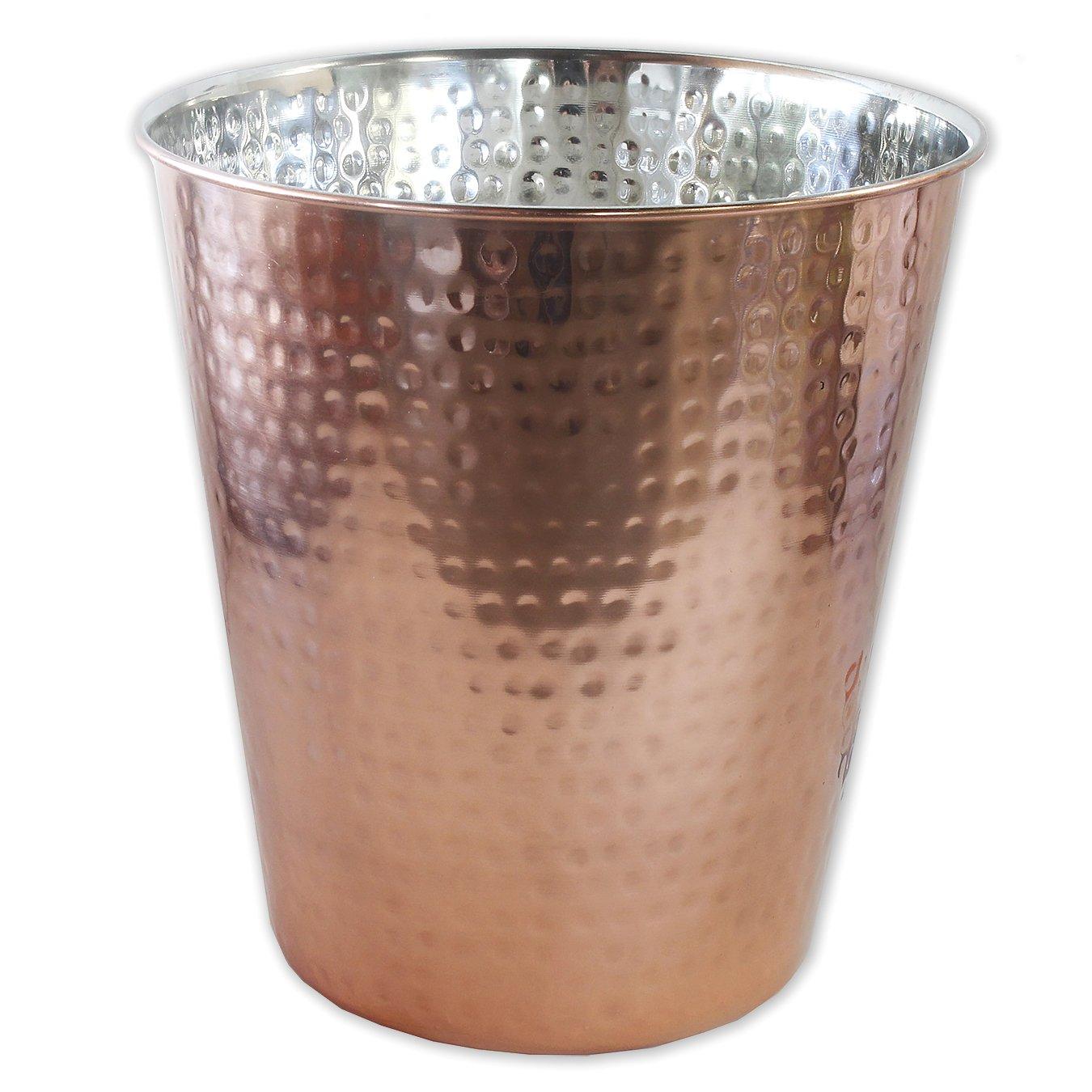 Waste Bin - Metal Wastebasket - Deskside Recycling Trash Can, Garbage Bin, Dustbin, Modern Home Décor, Perfect for Kitchen Bathroom Office Use - Hammered Copper Plated