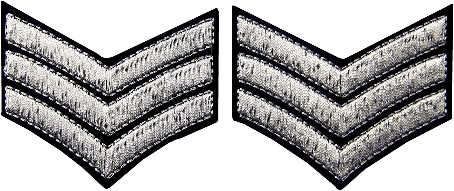 Millitary Uniform Chevrons Sergeant Stripes Army Embroidered Arms Emblem Iron On Sew On Shoulder Patch 2 Pcs Gold