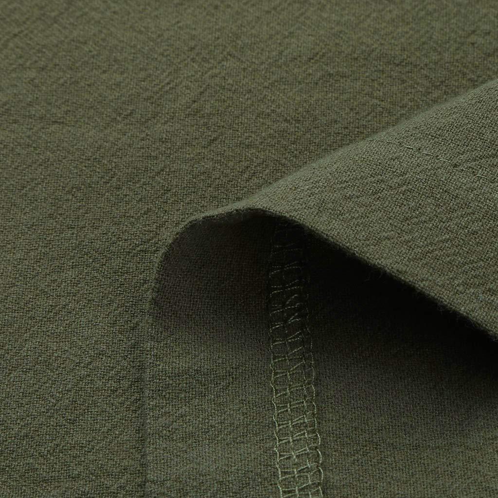Lenfesh Vestido de Delantal con Bolsillo para Mujer Tallas Grandes Vestidos Casual Algod/ón y Lino Verano Juniors ni/ñas Vestido Delantal Trabajo jard/ín