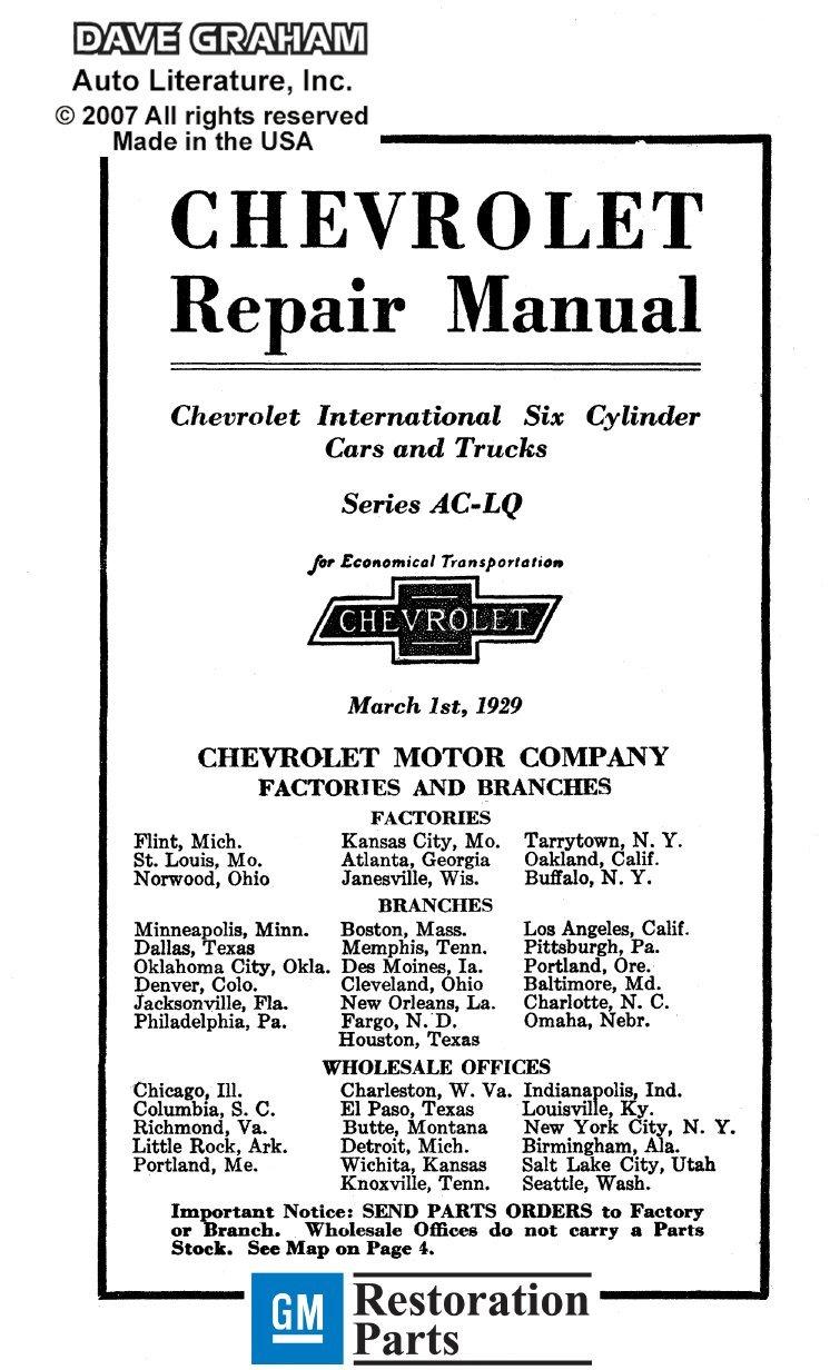 Amazon.com: bishko automotive literature 1929 Chevrolet Car Truck Shop  Service Repair Manual Book Engine Electrical OEM: Automotive