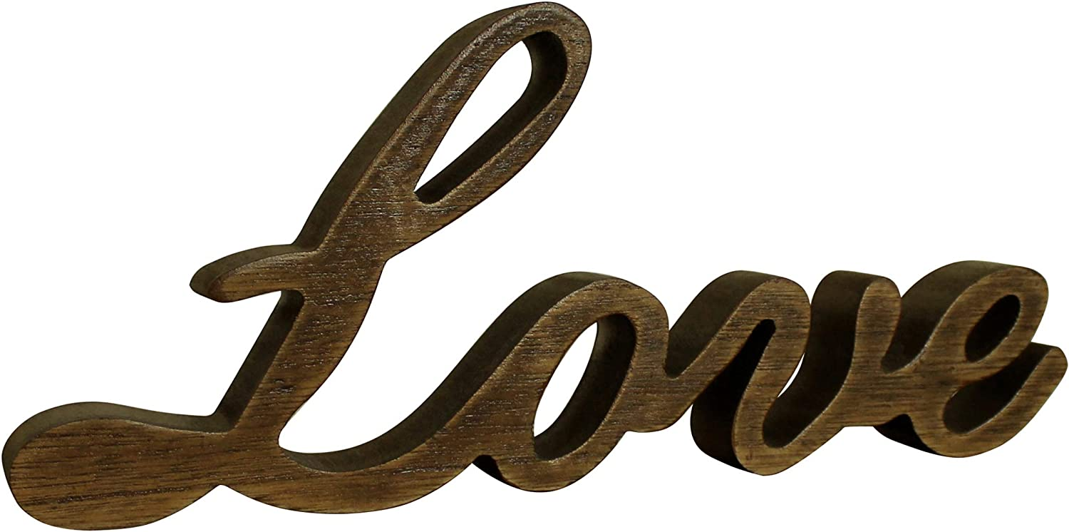 CVHOMEDECO. Wood Love Words Sign Free Standing Letters Sign Tabletop/Shelf/Home Wall/Office Decoration Art (Natural 1)
