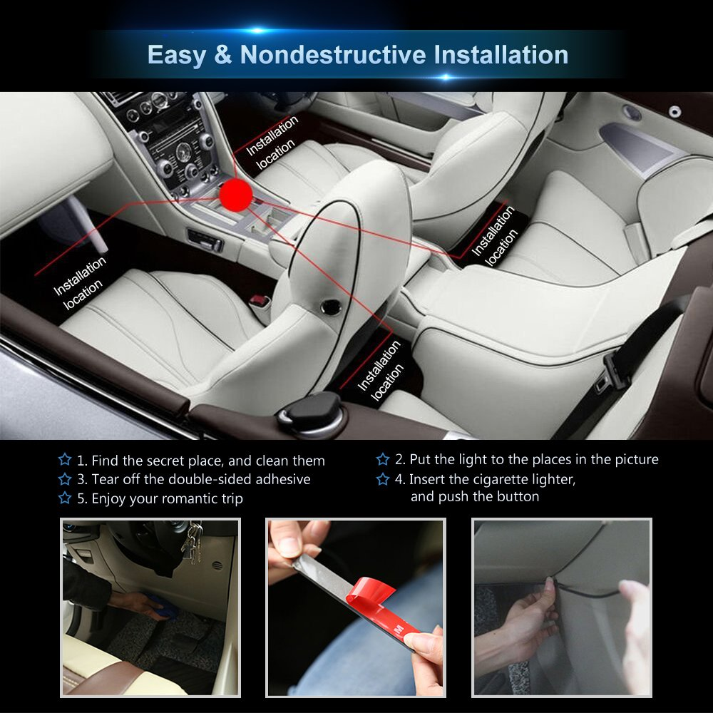 Sound Active Function New Type Lamp Strip Newest Style Remote and APP Control Car Interior Lights Infinite DIY Colors Upgrated 16 Fixed Colors DC 12V wsiiroon Car LED Strip Light
