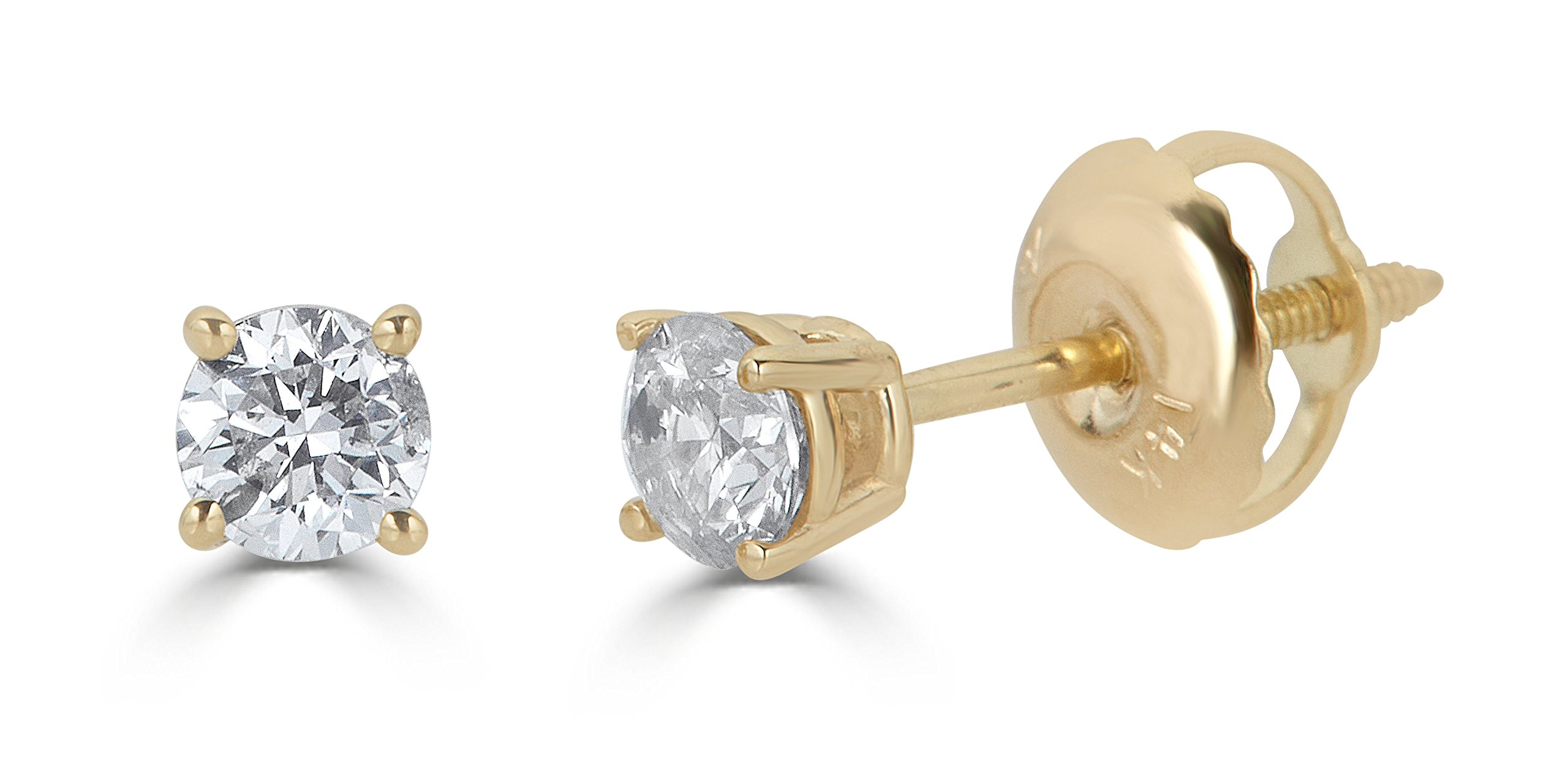 AGS Certified 14k Yellow Gold Round-Cut Diamond Stud Earrings (2cttw, K-L Color, I1-I2 Clarity) by Amazon Collection