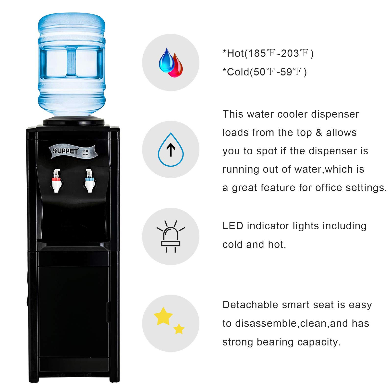 KUPPET Water Cooler Dispenser-Top Loading Freestanding Water Dispenser with Storage Cabinet, 5 Gallon, Two Temperature Settings-Hot(185℉-203℉), Normal Temperature(50℉-59℉), BLACK(32'', Black) by KUPPET (Image #3)
