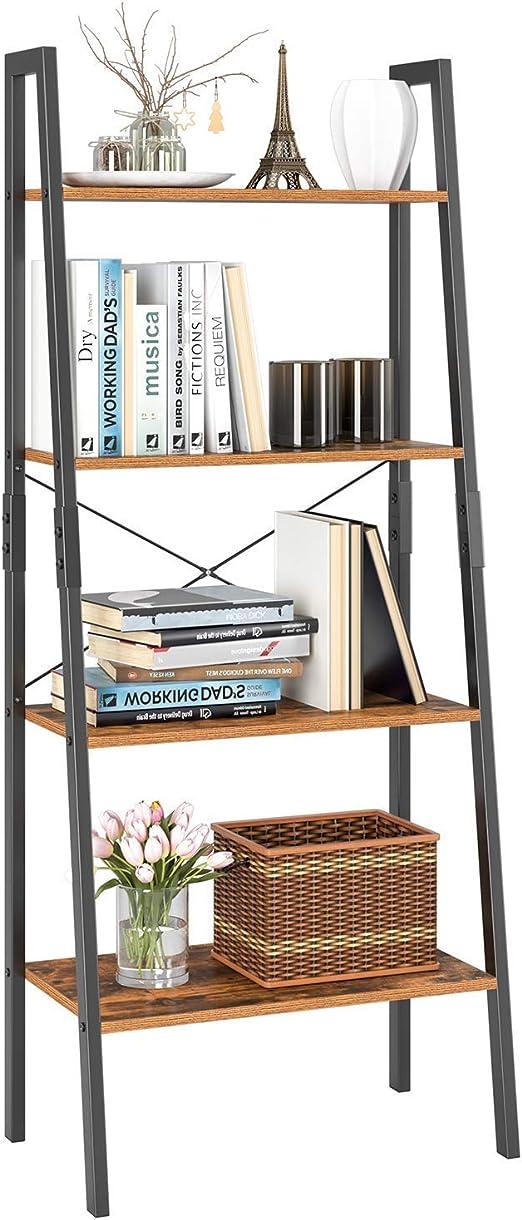 Homfa Estantería de escalera, 4 estantes, estilo vintage, multiusos, para plantas, flores, estantes, estantes de almacenamiento, marco de metal con aspecto de madera, muebles modernos para el hogar y la oficina: Amazon.es: