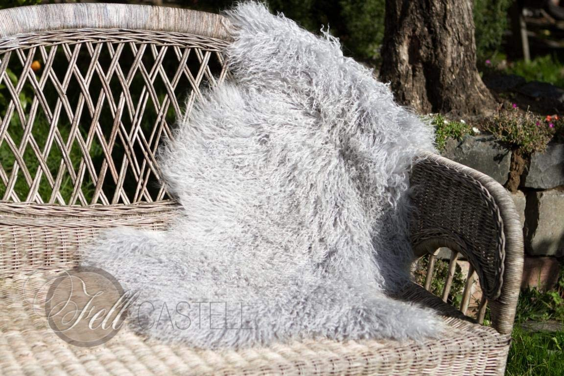 Tibetlammfell Hellgrau fein gelockt Tibetlamm Schaffell 95 x 50 cm