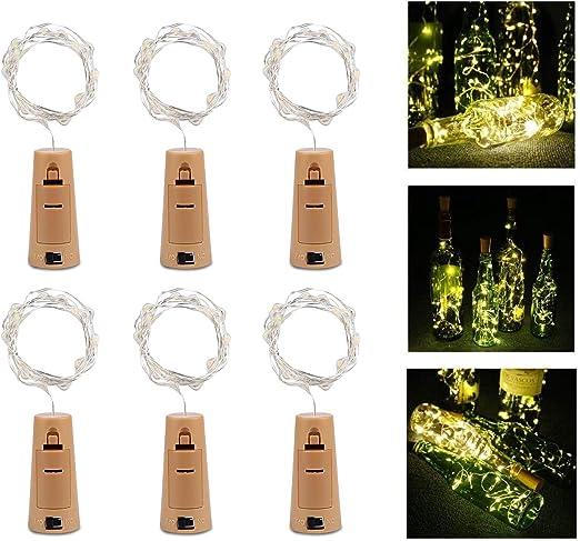6 Pack Botella de Luz, ALED LIGHT Botellas de Vino Luces 20 LED Luz de Bricolaje Corcho Micro Luces LED para Botella de Vino para Boda, Fiesta, Decoración de Botella,Decoración de Luces: