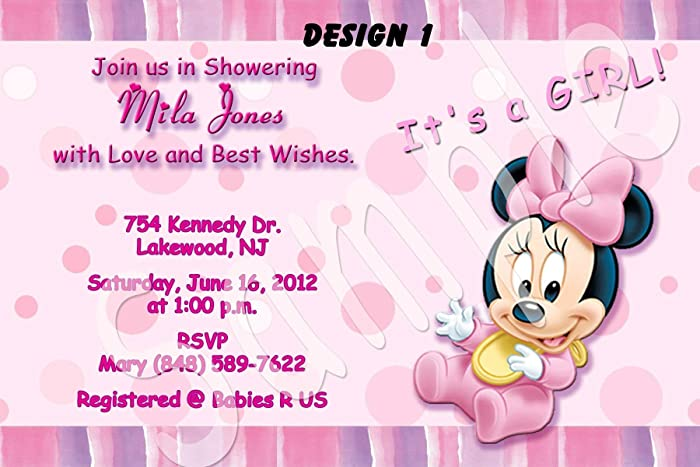 Amazon minnie mouse baby shower personalized invitations more minnie mouse baby shower personalized invitations more designs inside filmwisefo