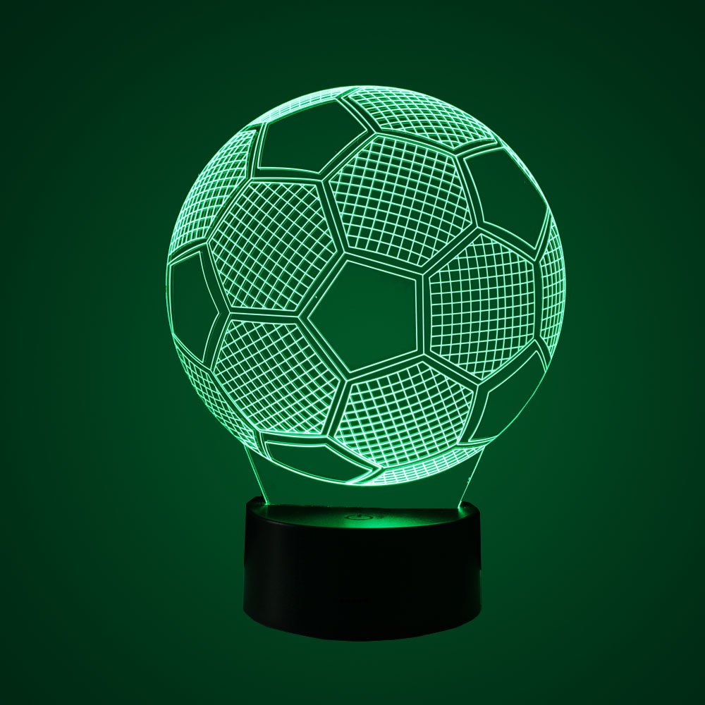 3D Lamp 7 Color Change Powered by USB or Batteries Breathing light with Smart Touch Button Desk Table Night Light Easy operation More convenient Best Gift.(soccer)