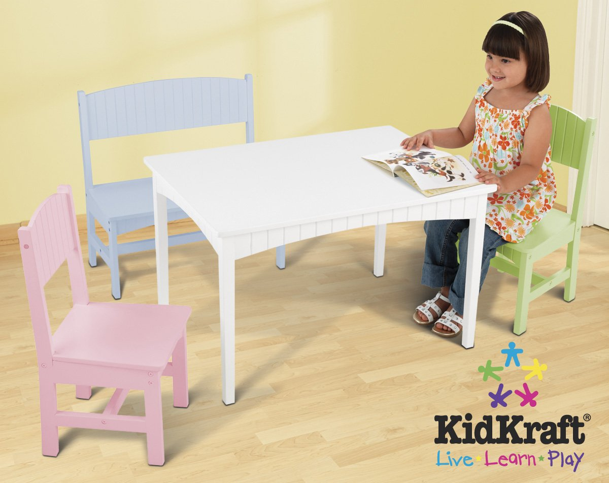 Amazon.com: KidKraft Nantucket Table With Bench And 2 Chairs   Pastel: Toys  U0026 Games