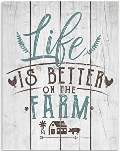 Life Is Better On The Farm Wall Decor - 11x14 Unframed Art Print - Great Gift and Decor Under $15 (Printed on Paper, Not Wood)