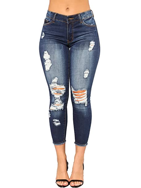 Govc Womens Juniors Distressed Ripped Slim Fit Stretchy Jeans Skinny Denim Capris Pants