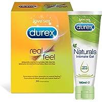 Preservativo Durex Real Feel 24 Condones + Lubricantes Sexuales Durex Naturals | Pack Durex Preservativos + Gel Lubricante Sexual