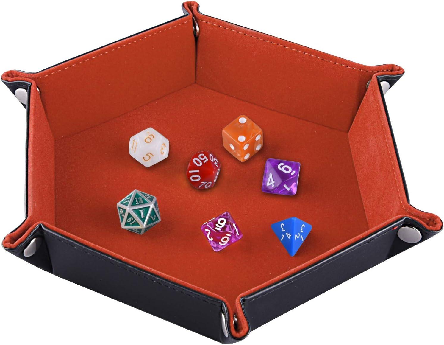 SIQUK Tablero de Dados Bandeja de Dados, Plegable de Cuero de Hexagonal de la PU y Soporte de Dados de Terciopelo Naranja para Mazmorras y Dragones Juegos de Dados RPG D & D y Otros Juegos de Mesa