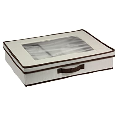 Household Essentials 545 Vision Box with Lid and Handles | Tabletop Linen Storage Set | Natural Canvas with Brown Trim, 1