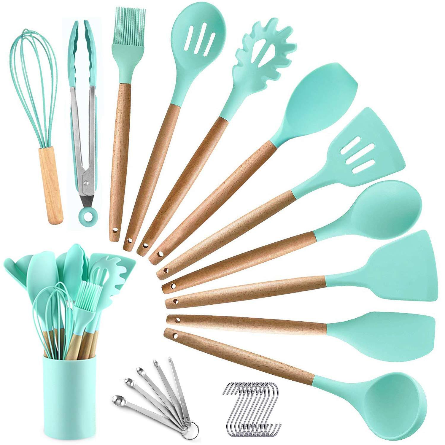 BECBOLDF 27 Kitchen Utensil Set - Silicone Cooking Utensils - Wooden Kitchen Utensils Set - Silicone Spatula Set Utensil Set - Silicone Utensils Cooking Utensil Set - Kitchen Tools Gadgets with Holde