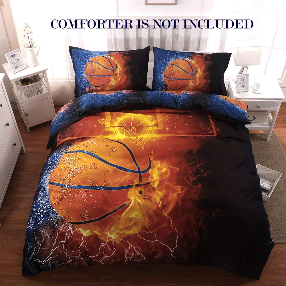 GiveUWant 3D Sports Basketball Duvet Cover Set Full(79x90 Inch), 3 Pieces (2 Pillowcase, 1 Duvet Cover) 3D Basketball Bedding Set, Zipper Sports Comforter Cover(No Comforter) for Boys, Kids and Teens