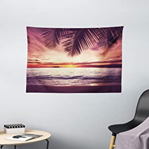 """Ambesonne Palm Tree Tapestry, Tropical Beach Under Shadows at Sunset Ocean Waves Serenity of Paradise in Nature, Wide Wall Hanging for Bedroom Living Room Dorm, 60"""" X 40"""", Yellow Purple"""