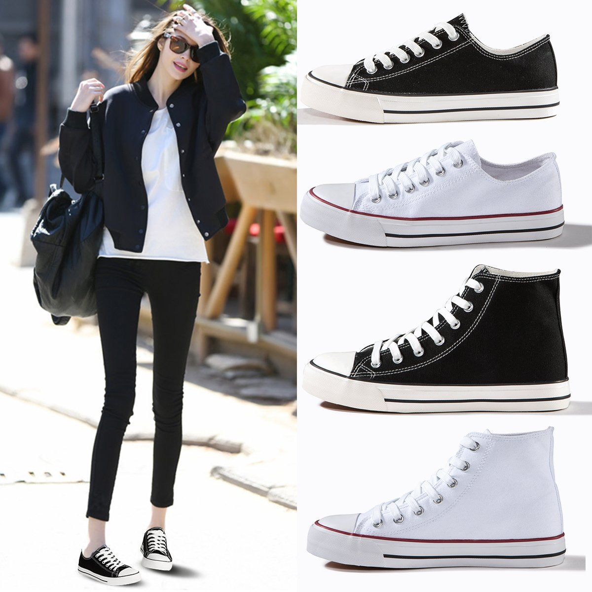 ZGR Canvas Sneaker Low Cut Season Lace Ups Shoes Casual Trainers for Women and Teenager Black US9 by ZGR (Image #7)
