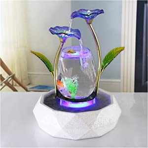 Tabletop Water Feature Blue Lotus Fountain Waterfall Cascade Indoor Decoration Aquarium Zen Relaxesion Humidifier Meditation fish tank Modern Golden color metal wrought iron black metal ring bottom