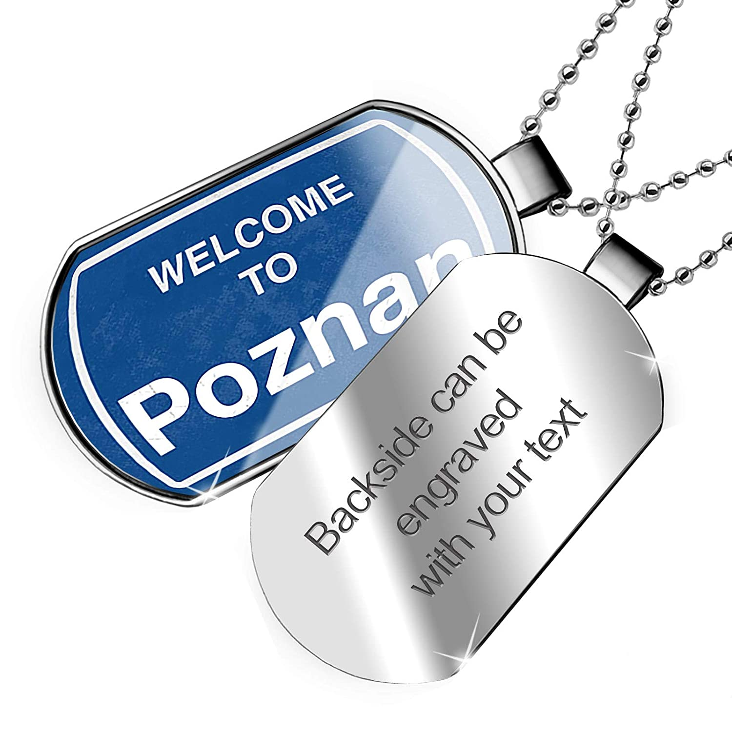 NEONBLOND Personalized Name Engraved Sign Welcome to Poznan Dogtag Necklace