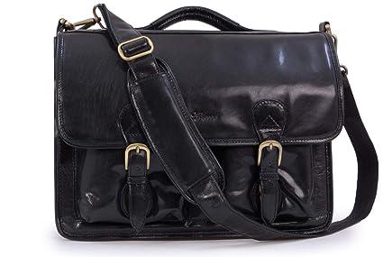 0c2256728f Ashwood Large Leather Briefcase Laptop Bag - 8190 - Black  Amazon.co ...
