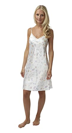 b462af02e46 BHS Ladies Short Satin Butterfly Chemise with Lace Trim in Ivory Sizes 8 -  22  Amazon.co.uk  Clothing
