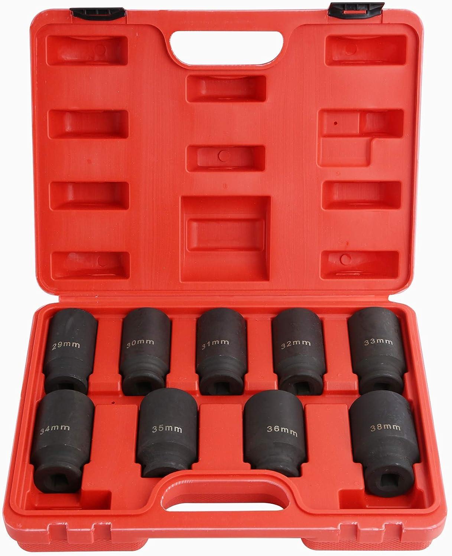 "9PCs Deep Impact Socket 1//2/"" Drive Axle Hub Nut Kit 29,30,31,32,33,34,35,36,38mm"