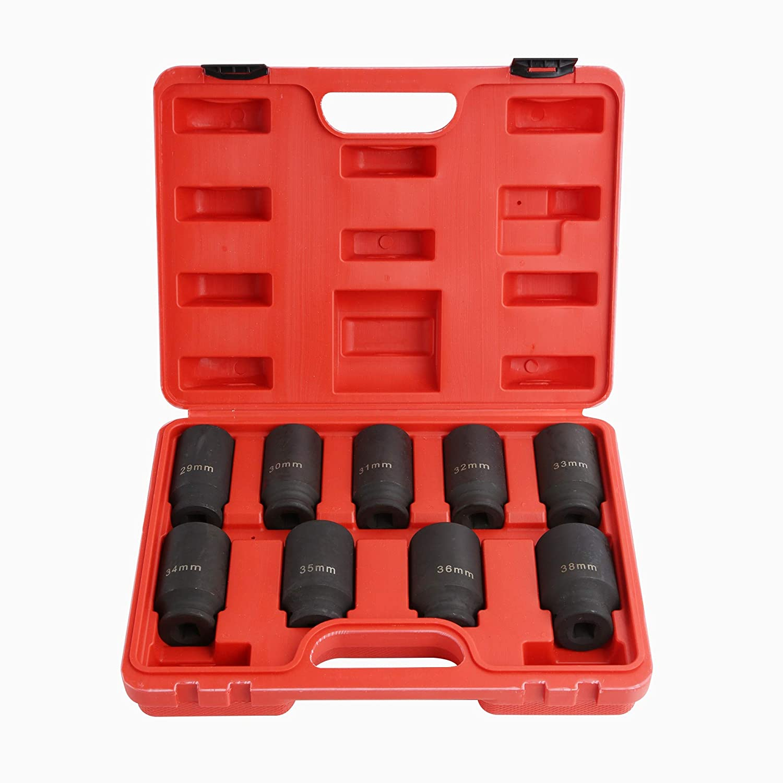 9PCS Deep Impact Socket Set 1/2' Drive Metric Axle Hub Nut Socket 29-38mm WINTOOLS