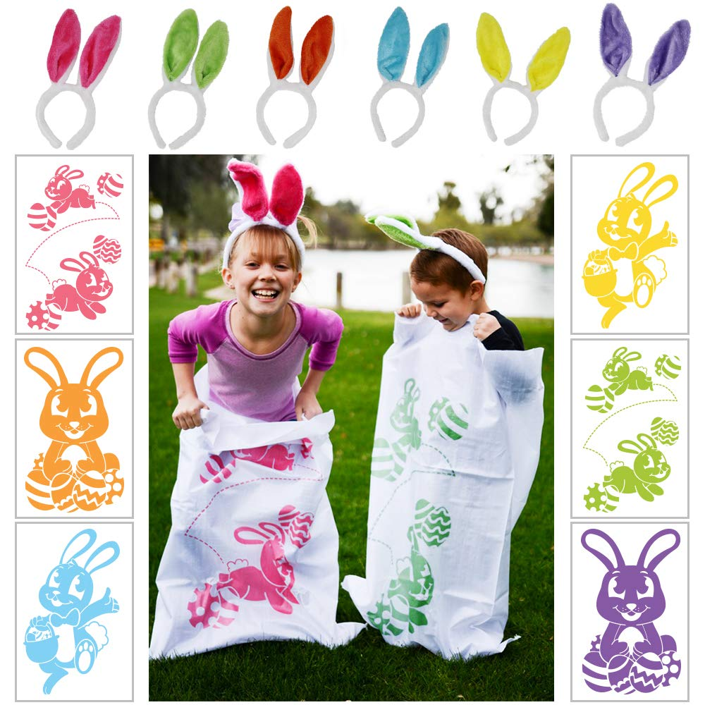 6 Potato Sack Race Jumping Bags 40 x 24 with Bunny Ears Headbands for All Ages Kids Easter Theme Party Favor, Easter Eggs Hunt Game Activities, Party Supplies, Party Games, Great Family Games.
