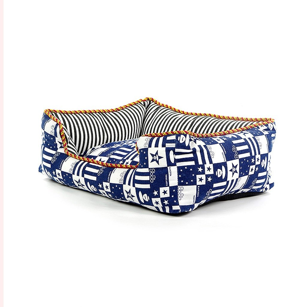 M Rectangular Dogs Cat Bed Pet Bed Four Seasons Available Removable Cleaning bluee Has Three Sizes (Size   M)